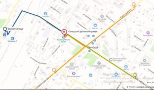 Карта-схема как пройти в Коношский районный краеведческий музей